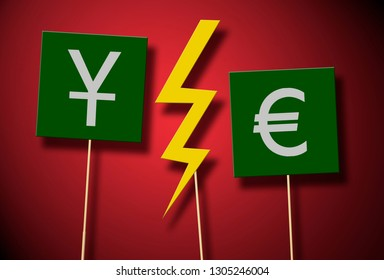 2 different currency symbol and a thunder in the middle of them on a message card with stick