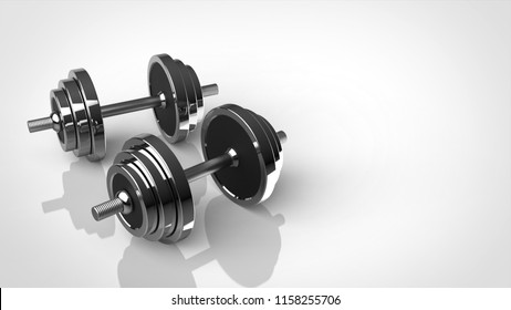 2 dumbbell silver left 3d rendering