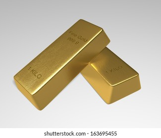 2 Gold Bars one 1 kilo fine gold bar stack slanted on top of another on white background. 3D rendered.