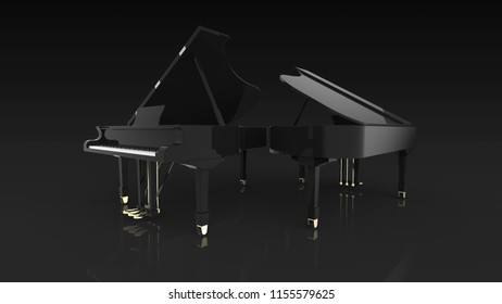 2 grand pianos 3d rendering