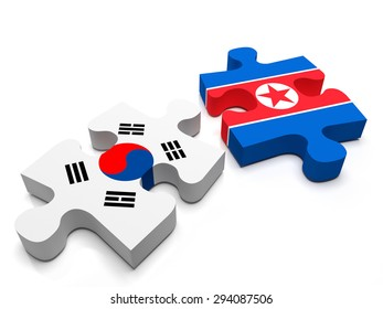 2 jigsaw puzzle pieces, 1 containing the flag of North Korea, the other of South Korea. Isolated on a white background. 3D Illustration.