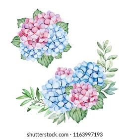 2 Lovely bouquets with blue and purple hydrangea flowers,branches and leaves.Watercolor bouquets for your design.Perfect for wedding,invitations,blogs,template,Birthday,baby cards,greeting,logos etc.