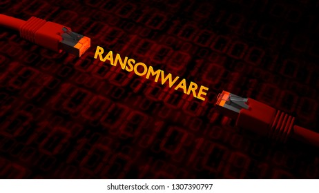 2 network cables on a floor textured with binary streams with the glowing word ransomware 3D illustration