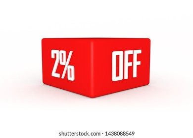 2 percent off in red color three-dimensional render with white background, 3d illustration.
