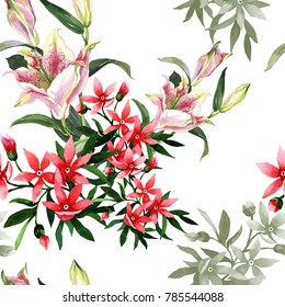 2 pink lillies and small flowers on white background seamless pattern for fabrics, paper, wallpaper