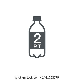 2 pint sign (pt mark) estimated volumes gallons (gal) symbol gal packaging, labels used for prepacked foods drinks different gallons and pints. 2 pt vol single icon isolated on white background