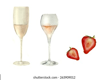 2 types of champagne glasses and stawberries, hand-drawn, watercolor