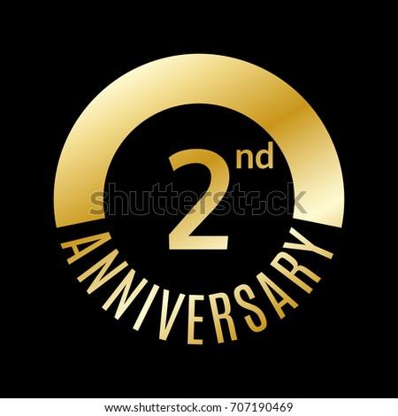 2 year anniversary icon 2nd celebrationのイラスト素材 707190469