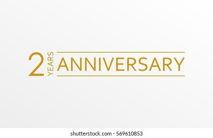 2 years anniversary emblem. Anniversary icon or label. 2 years celebration and congratulation design element.