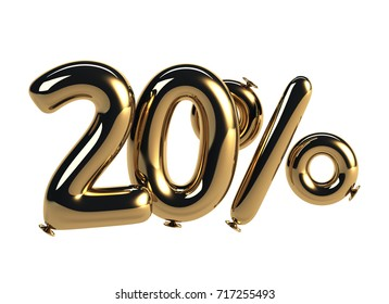 20% discount made of Golden Balloons. sale concept. 3d rendering isolated on White Background