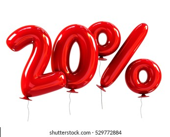 20% discount made of Red Balloons. sale concept. 3d rendering isolated on White Background