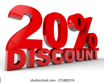 20% Discount over white background