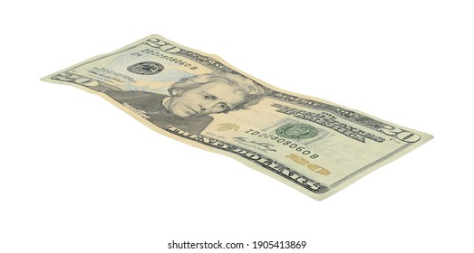 20 Dollar Bill 3D illustration on white background