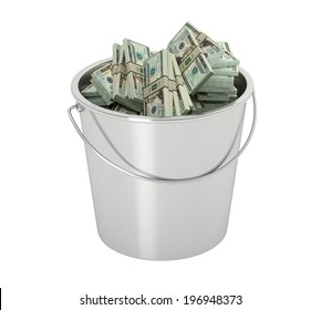 20 Dollar bills in a bucket - isolated on white