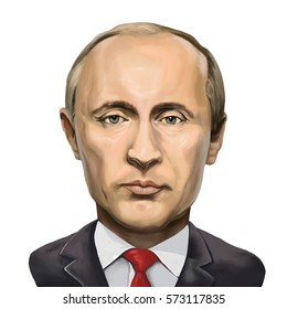 20 January 2017 - Ayvalik, Turkey: President of the Russian Federation Vladimir Putin  Portrait. Illustrated in Turkey by Erkan Atay.