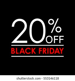20% off. Black Friday sale and discount banner. Sales tag design template.