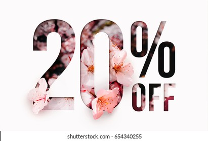 20% off discount promotion sale Brilliant poster, banner, ads. Precious Paper cut with real sakura flowers and leaves. For your unique selling poster / banner promotion offer percent discount ads.