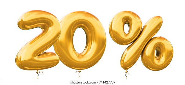20% off discount promotion sale made of realistic 3d gold helium balloons. Illustration of balloon percent discount collection for your unique selling poster,banner ads ; Christmas, Xmas sale and more