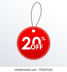 20% off. Discount or Sale price tag.  Save 20 percent icon.