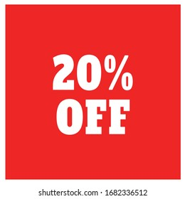 20% off, Flat sales illustration badges for Labels, Flat Banners, Stickers, discount price tag, Discount badge in Red background