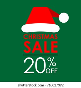 20% off sale. Christmas sale banner and discount design template with Santa Claus hat.