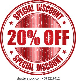 20% off Special discount grunge stamp.