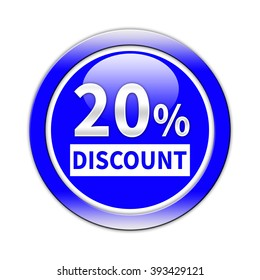 20 percent button isolated