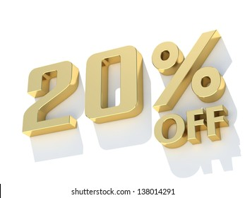 20 Percent off - gold yellow metal symbol