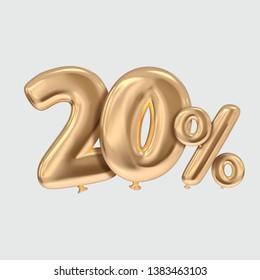 20 percent typography golden ballon style illustration rendered image