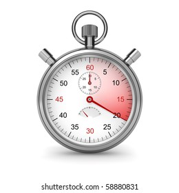 20 seconds. Isolated stopwatch on white. Clipping path included. Computer generated image.