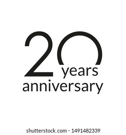 20 years anniversary celebrating icon or logo. Birthday, greeting card design template.