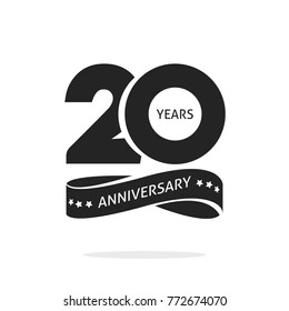 20 years anniversary logo template isolated on white, black and white stamp 20th anniversary icon label with ribbon, twenty year birthday seal symbol image