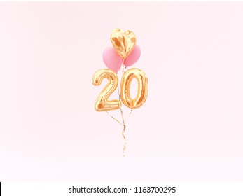 20 years old. Gold balloons number 20th anniversary, happy birthday congratulations. 3d rendering.