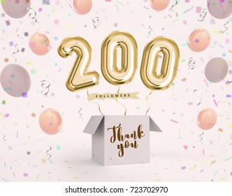 200 follower 200 like thank you with gold balloons and colorful confetti. Illustration 3d render for your social network friends, followers, web user Thank you celebrate of subscriber, follower, like