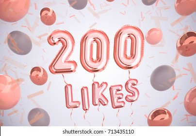200 like or two hundred likes, followers thank you with Rose Gold balloons and colorful confetti. For Social Network friends, followers, Web user Thank you celebrate of subscribers or followers, likes