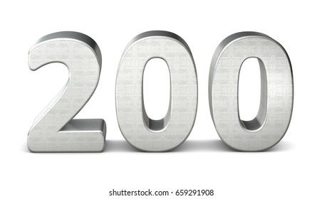 200 number 3d silver structure 3d rendering