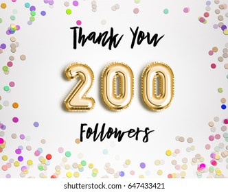 200 or two hundred thank you Gold balloons and colorful confetti, glitters. Illustration for Social Network friends, followers, Web user Thank you celebrate of subscribers or followers and likes.