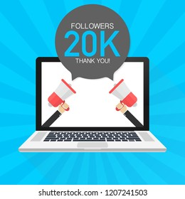 20000 Followers thank you card with laptop Template for social media post. 20K subscribers vivid banner.  stock  illustration.