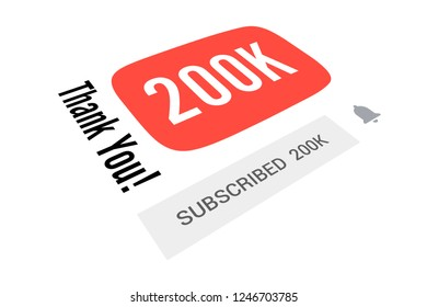 200000 Two Hundred Thousand Subscribers, Thank You, Number, White Background, Concept Image, 3D Illustration