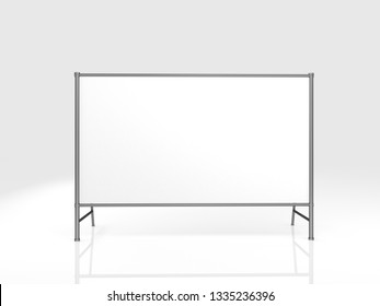 2000x4000mm Blank Advertising Outdoor Banner on Metal Truss Construction System on a white background. 3d Rendering