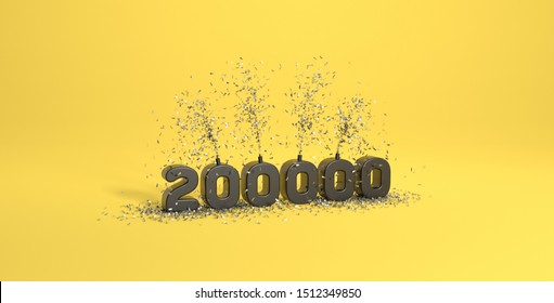 200K followers thank you illustration 3D rendering