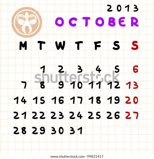 2013 Monthly Calendar October Libra Zodiac Stock