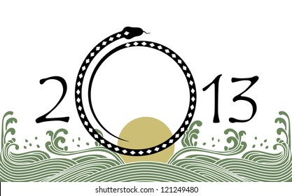 2013 new year of water black snake from chinese lunar calendar.