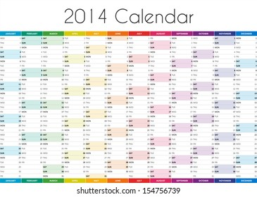 12 Month Calendar For 2014 Images Stock Photos Vectors Shutterstock