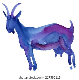 2015 - Chinese Lunar Year of the Goat. Chinese calligraphy goat. Raster illustration.