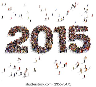 2015 formed out from celebrating people seen from above