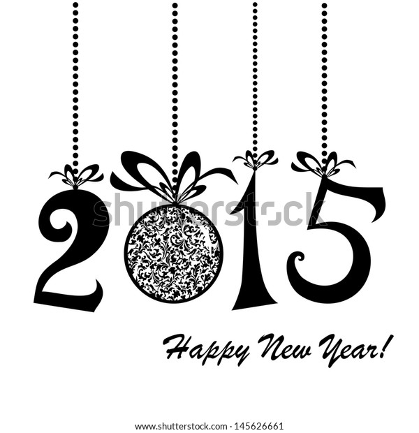 2015 Happy New Year greeting card isolated on white background.  Illustration