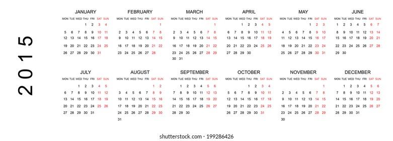 simple 2015 calendar eps 10 stock vector royalty free 103376321