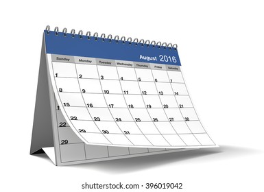 2016 August page of a desktop calendar is on isolated white background with drop shadow. 3D Rendering.