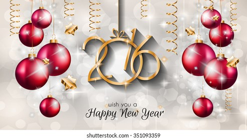 2016 Happy New Year Merry Christmas Stock Vector (Royalty Free ...
